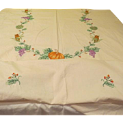 Fruits of the Harvest Embroidered Tablecloth - L4