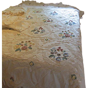 Crocheted, Appliqued Flower Bed Cover, Curtain and Valance - g
