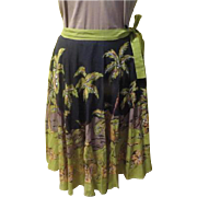 Island Girl Palm Trees and Grass Hut Circle Skirt