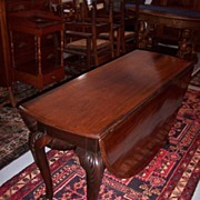 REDUCED Rare Period Mahogany Chippendale Carved Drop-Leaf Table with Hairy Paw Feet