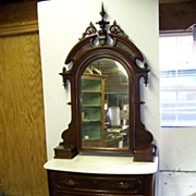 American Victorian Marble Topped Bow Front Dresser with Elaborate Mirror. Ca. 1850
