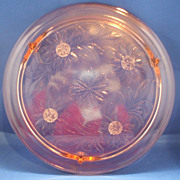 SOLD Jeannette Sunflower Pink Depression Glass Cake Plate Three Feet