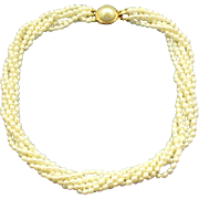 Freshwater Pearl 6 Strand Torsade Necklace Choker