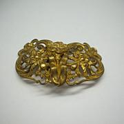 Art Nouveau Dress Clips Gold Tone Floral Fishel & Nessler
