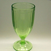 SOLD Federal Green Depression Glass Footed Tumbler Ribbon Optic