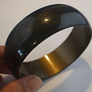Deep Brown Gold Moonglow Lucite Bangle Bracelet