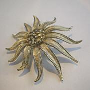 SALE BSK Silver Tone Stylized Chrysanthemum Pin