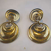 Gold Tone Sculptured Drop Round Earrings