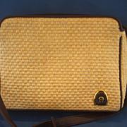 Etienne Aigner Straw Leather Trim Shoulder Bag Purse