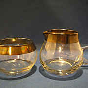 Dorothy Thorpe Sterling Trim Hand Blown Crystal Creamer Open Sugar