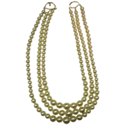Faux Pearl Triple Strand Graduated Statement Necklace