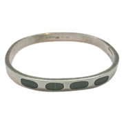 Taxco Sterling Malachite Hinged Bangle Bracelet