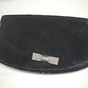 Black Velvet Clutch Evening Bag Bow Front Fold Over