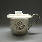 Silver Plated Baby Christening Cup Repousse Duck Plastic Lid Hong Kong
