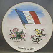 Iowa State Souvenir Plate Hand Painted Flag, Goldfinch, Wild Rose