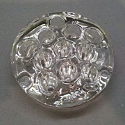 "SOLD Flower Frog 11 hole 3"" Round Clear Glass"