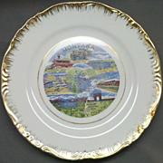 REDUCED Montana Porcelain Souvenir Plate Colorful Gold Trim