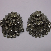 Rhinestone Cha Cha Earrings Silver Tone Filigree Clips