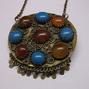 Tribal Necklace Carnelian Turquoise Glass Pendant Brass Hidden Goddess