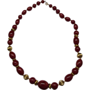 Trifari Raspberry Red Swirled Moonglow Lucite Gold Tone Beads Necklace