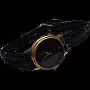 Vintage Genevex Diamond Black Face Dress Watch