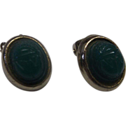 Green Carved Scarab Gold Tone Clip Earrings