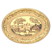 Daher Blue Willow Style Oval Tin Tray