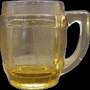SOLD Amber Glass Barrel Mug Stein Mini Toothpick Shot
