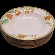 SOLD Orange Delphinium Autumn Bloom Metlox Rimmed Soup Bowls - Red Tag Sale Item