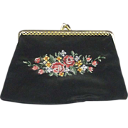 Petit Point Roses Black Coin Purse