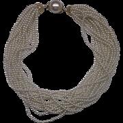 Faux Pearl Torsade Necklace Choker 15 Strand