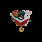 Jingle Bells Christmas Plastic Hallmark Figural Pin Penguin Rabbit Bear