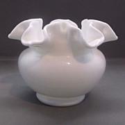 Fenton White Milk Glass Double Crimped Small Vase