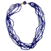 Royal Blue Necklace Multi-Strand Plastic Faceted Beads