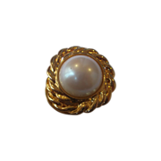 Huge Faux Pearl Gold Tone Dress Clip