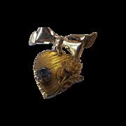 SALE Gold Tone Heart Dangle Pin Large Blue Rhinestone