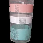 Pink Turquoise White Stripe Glass Tumbler Mid Century