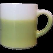 SOLD Hazel Atlas Lime Acid Green Fade Milk Glass Mug