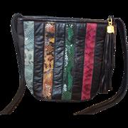 Snakeskin Stripe Jewel Tones Black Leather Bucket Purse Shoulder Bag
