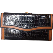 Black Faux Alligator Patent Vinyl Wallet Brown Trim Hong Kong