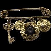 SALE Charm Pin Gold Tone Coins Black Rhinestone