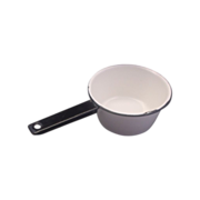 White Enamel Black Trim Sauce Pan