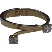 R&F Square Rhinestone Gold Tone Clamper Bracelet