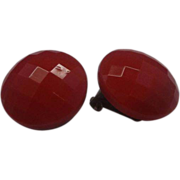 Red Glass Checkered Faceted Disc Clip Earrings