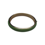 Lime Green Clamper Bracelet Plastic Gold Tone