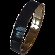 Black Enamel Gold Tone Bangle Bracelet