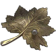 SALE Sarah Coventry Leaf Pin Faux Pearl Gold Tone