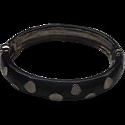 Black White Polka Dot Clamper Enamel Bracelet