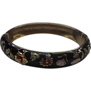 Black Enamel Floral Clamper Bracelet