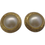 Marvella Faux Pearl Clip Earrings Gold Tone